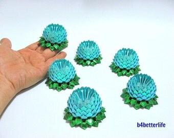 Lot of 6pcs Light Blue Color Mini Size Origami Lotus. (TX paper series).