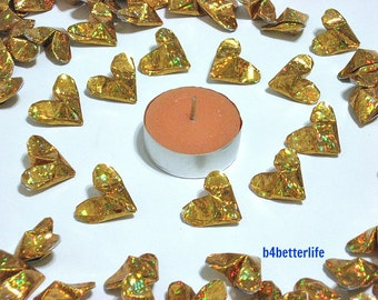 100pcs Gold Color Medium size 3D Origami Hearts. 'LOVE'. (4D Glittering paper series). #FOH-158.