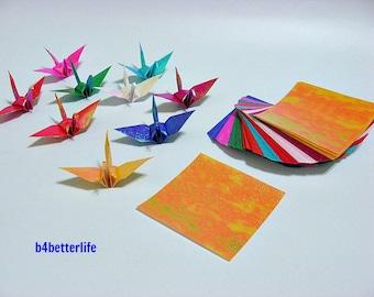 "108 Sheets 3"" x 3"" Assorted Colors DIY Chiyogami Yuzen Paper Folding Kit for Origami Cranes ""Tsuru"". (TX paper series)."