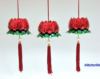 Lot of 3pcs Small size Red Color Origami Hanging Lotus. (4D Glittering Paper Series). #FLT-69.