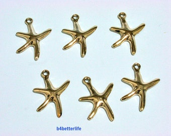 "Lot of 24pcs ""Starfish"" Gold Color Plated Metal Charms. #XX413."