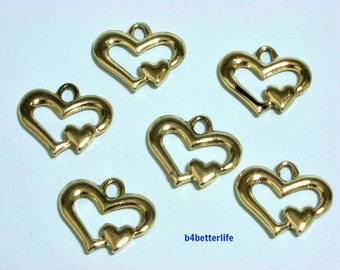 "Lot of 24pcs Double Sided ""Gold Double Heart"" Gold Color Plated Metal Charms. #XX317."