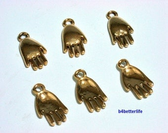 "Lot of 24pcs ""Hand And Palm"" Gold Color Plated Metal Charms. #XX12."