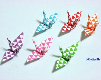 100pcs Assorted Colors Origami Cranes Hand-folded From 3.2 x 3.2cm Square Paper. #MD116a. (MD paper series).