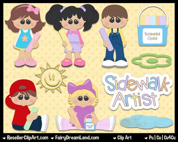 Sidewalk Chalk Artist Clip Art Commercial Use Graphic