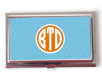 Monogram Business Card Holder - Personalized Business Card Holder - Chevron Monogram Business Card Holder