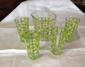 10% OFF SALE Vintage RETRO Pitcher and 4 drinking Glasses Green Flowers