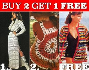 Special promotion free pattern - Three 70s Vintage Crochet Patterns - INSTANT PDF DOWNLOAD - Set 4
