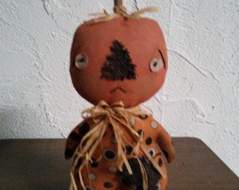 Primitive Folk Art Halloween Self Standing Pumpkin Doll