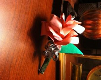 Paper Rose Boutonnière - Stem Rose