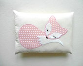 Baby Pink Fox Pillow Decoration, Handmade Fox Cushion on Eco Friendly Natural Cotton, Woodland Nursery, Forest Animal Gift, Pastel Pink