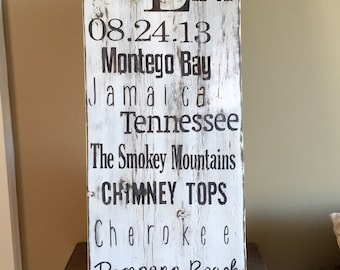 Distressed personalized barn wood subway art