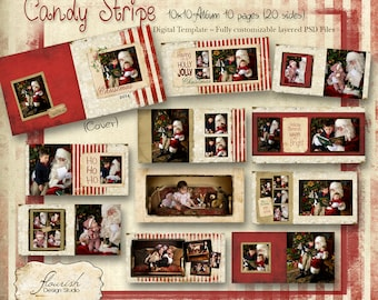 10x10 Layflat Christmas Holiday Album template for photographers - Candy Stripe Album