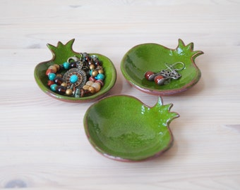 Ceramic bowl, small bowl, pomegranate bowl, green bowl, serving dish, Ring Holder dish, Trinket Dish, Holiday gift, Rosh Hashanah Gift