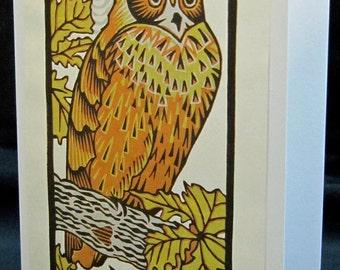 Hand pulled, woodblock printed greeting card, 'Owl'.