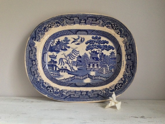 Antique English Blue Willow Serving Platter
