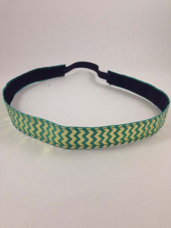 Mint green & gold foil chevron patterned non-slip headband for everyday and active wear