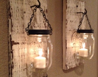 White barn wood mason jar candle holders, SET OF TWO Handmade