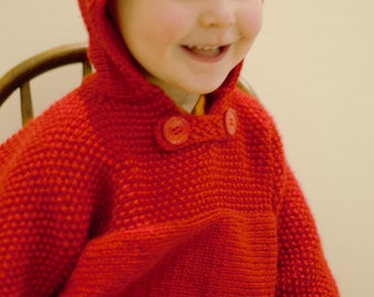 Toddlers back zip sweater with hood. Easy care acrylic. Bright Red. 18-24 months and perhaps beyond.