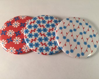 Red and Blue Flower Pocket Mirrors