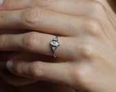 Marquise Diamond Engagement Ring , Trillion Diamond Ring, Wedding Ring in 14k gold