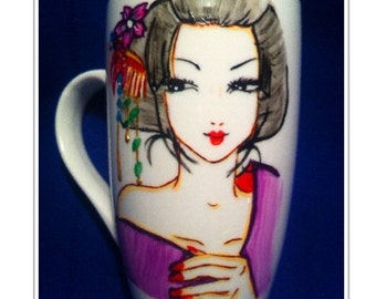 Japanese geisha hand painted on a porcelain mug