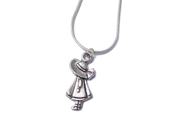 Holly Hobbie Doll Pendant Charm Necklace- 925 Sterling Silver chain, delicate, simple and elegant necklace, lovely gift