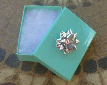 "Tiffany Style Jewelry Gift Box and Bow 3"" x 2 3/8"" x 1"""
