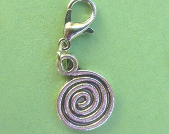 Dangle Modern Swirl for Bracelets, Floating Charm Pendants, Necklaces & Keychains  D011