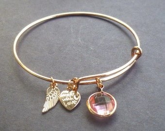 Peach Pave Crystal Adjustable Bracelet w Small Angel and Heart Metal Charms