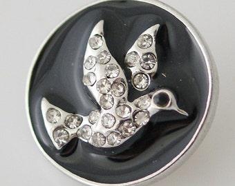 KB8021  Crystal Dove of Peace Set on Black Enamel