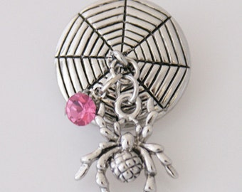 KB5092 Fun!  Silver Spider Dangle in Web w/ Dk. Pink Crystal Snap