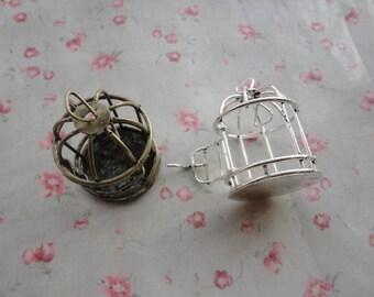 2 color choice , set of 2 , metal bird cage charm , metal bird cage pendant , 45x30x30mm--MPC3061-2