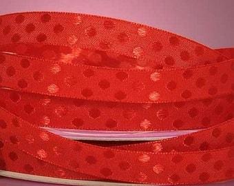 5 yds Red Dots Ribbon, Red Ribbon, Red Satin Ribbon, Christmas red ribbon, Red Gift wrap ribbon