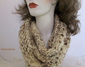 Cream scarf, brown infinity, off white cowl, men's scarf, women's scarf, cream brown cowl, knit neck ware, winter white wrap, multi tan wrap