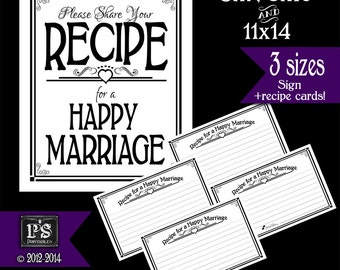 Recipe for a Happy Marriage Sign and Recipe Cards - PRINTABLE Instant download - Sign comes 3 sizes - White and Black Open Heart Collection
