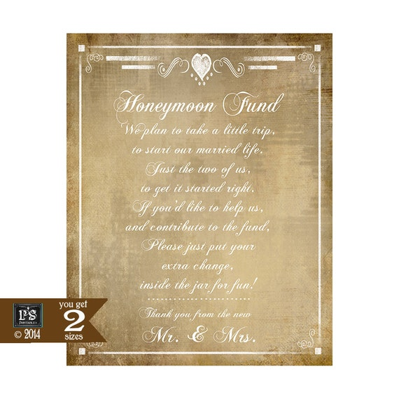 Honeymoon Fund Printable Wedding Sign DIY Instant Download