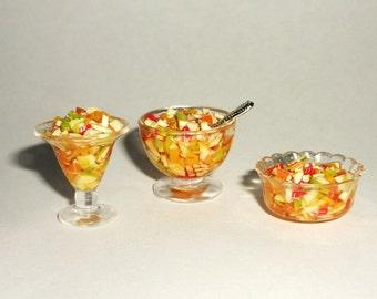 Dollhouse miniature fruit salad, fruit platter 1:12