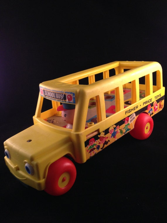 vintage fisher price wooden school bus 1965 pull toy. Black Bedroom Furniture Sets. Home Design Ideas
