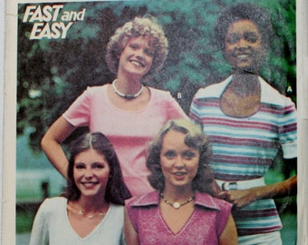 Butterick 4614 Vintage 1970 Misses' T-Shirts Sewing Pattern New / Uncut Size 14