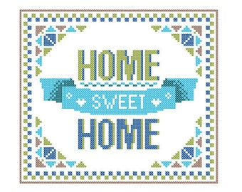 Instant Download Cross Stitch Pattern HOME Sweet HOME bright, warm and welcoming Blue and green shades Modern Geometric wall art Gift