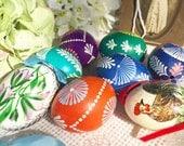 8 Kraslice Czech Eggs Easter Centerpiece, Handmade, Folk Art, Prague. Paschal pysanka, bohemia, boho, czechoslovakia holiday, decorate decor