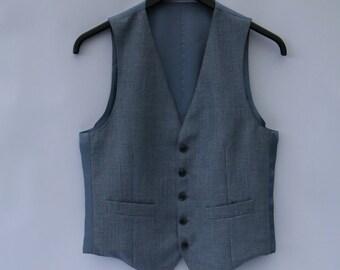 Light Grey Mens Vest Classic Formal Fitted Waistcoat Steampunk Gentlemen's Edwardian Victorian Small Size