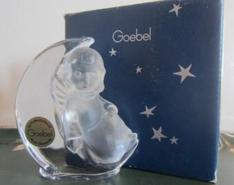 Vintage GOEBEL West Germany Crystal Frosted Glass Angel Moon Figurine Paperweight with box 1983