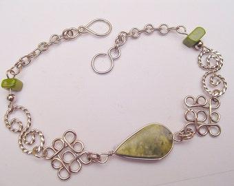 Light-Green Serpentine Teardrop Alpaca Silver Diamonds Bracelet Peruvian Jewelry - Handmade in Peru