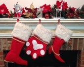 FELT Christmas stockings, CUSTOM stockings for the whole FAMILY in Red, Green, Blue, White, Personalized for Free, Set of 3, Sale 20% Off