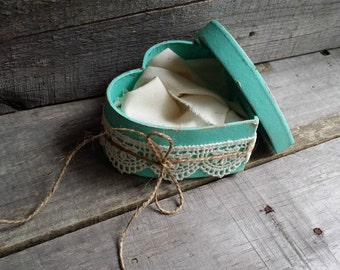 Rustic Ring Bearer Heart Shaped Mint Green Pillow Box, Rustic Ring Bearer Pillow Alternative, Wedding Ring Holder, Rustic Wedding Decor