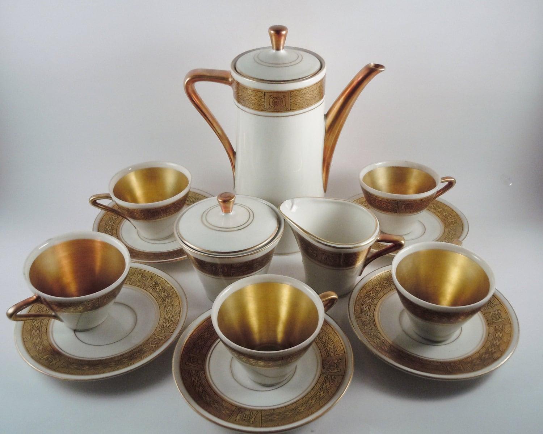 royal porzellan bavaria km germany handarbeit 15 pc demitasse set art deco gold 24k haute juice. Black Bedroom Furniture Sets. Home Design Ideas