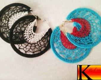 Artisan Tribal Crochet Dream Catcher Jewelry Earrings