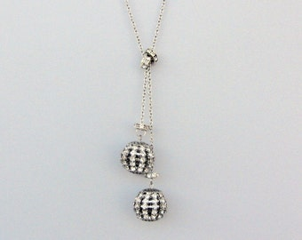 Rhinestone Necklace / Wedding Jewelry / Drop Necklace / Bridal Necklace / Silver Plated Chain